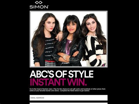 Instant Win Sweepstakes Today - simon abc s of style instant win sweepstakes