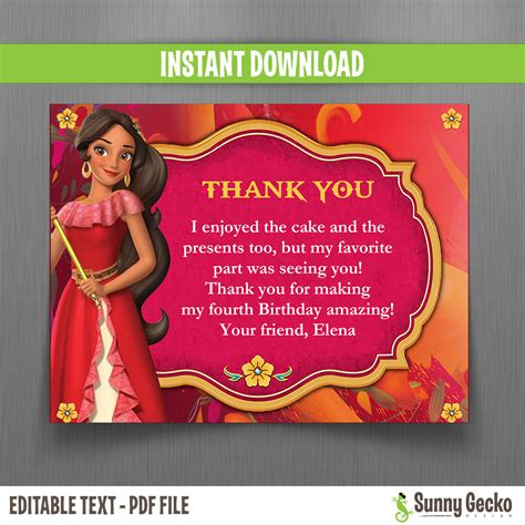 Disney Elena Of Avalor 5x7 In Birthday Party Invitation And Free Editable Thank You Card Edit Of Avalor Birthday Invitation Template
