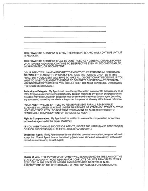sle of durable power of attorney indiana general durable power of attorney form for free page 4 formtemplate