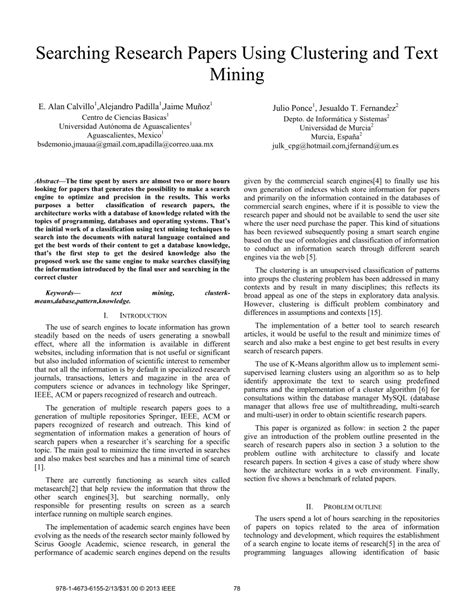 research paper on clustering searching research papers using pdf available