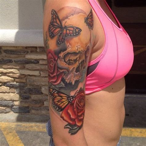 skull and roses full sleeve tattoos butterfly tattoos with skull and on half sleeve for