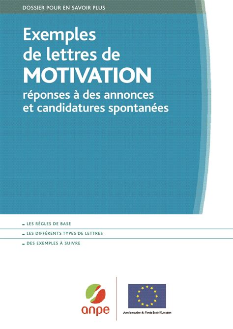 Exemple De Lettre De Motivation R Dig E exemples de lettres de motivation