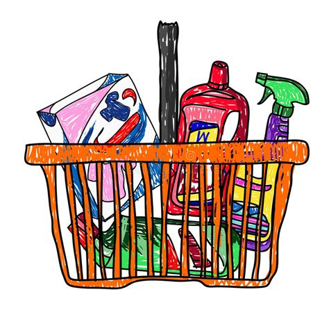 doodle basket doodle sketch drawing with a basket of groceries from the