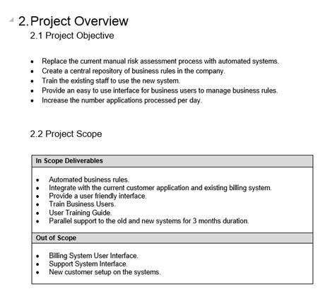 project overview template project template free project management templates