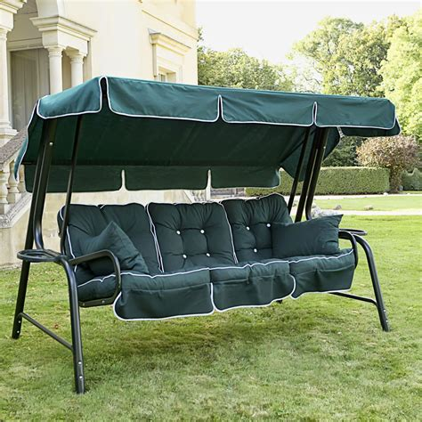 swing seat canopy fabric black metal patio swing with dark green fabric canopy and