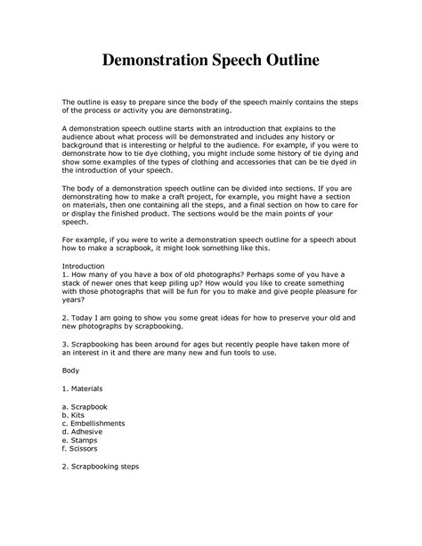 Demonstration Speech Outline Template demonstrative speech outline template search
