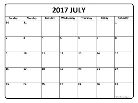 printable july daily calendar july 2017 calendar printable calendar printable hub