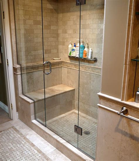 Bathroom Shower Doors Ideas by Tiled Shower Enclosures With Seat Marble Inlay Tile