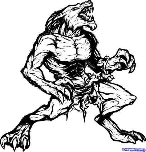 how to draw a lycan lycanthrope step by step werewolves