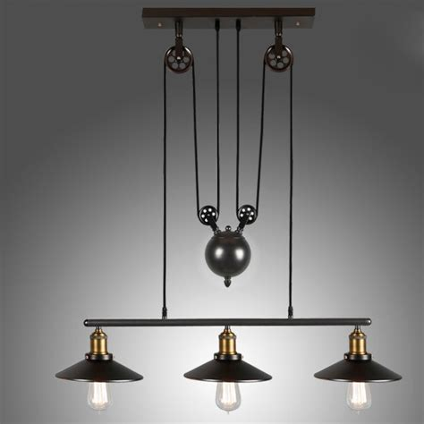 Adjustable Pendant Lighting Tray Adjustable Height Pulldown Island Pendant Retro Industrial Pendant Lights Ceiling