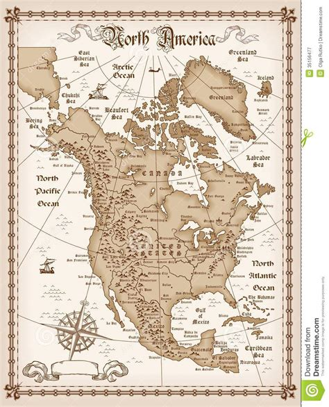 usa map free eps vintage map of america stock vector illustration