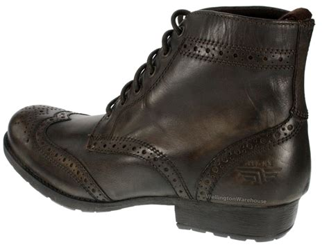 mens butley brown leather lace up brogue boots ebay