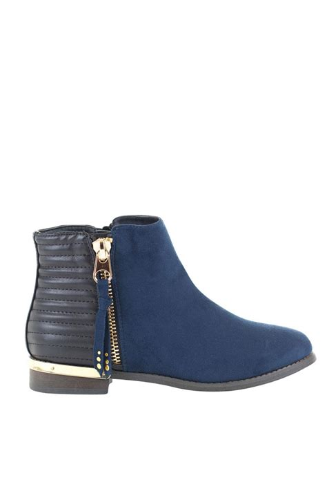 flat bootie shoes gc shoes navy flat bootie from new york city by via