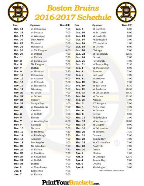 Bruins Schedule Printable printable 2016 2017 boston bruins hockey schedule