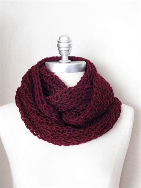 maroon knit infinity scarf wine infinity scarf burgandy maroon knit