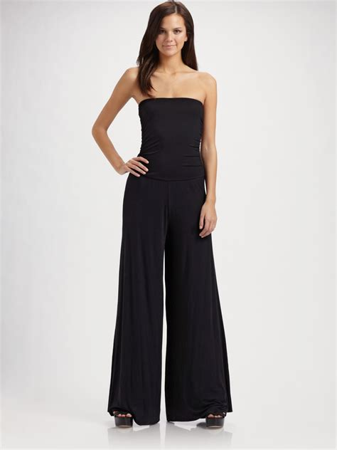 knit jumpsuit pally strapless knit jumpsuit in black lyst