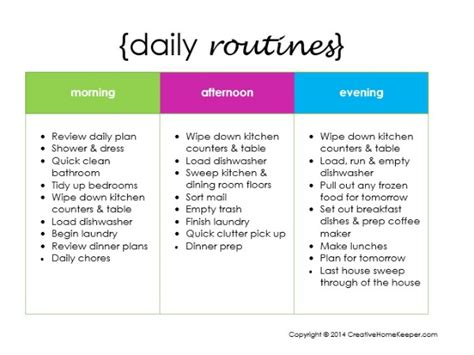 creating a daily routine plus a free printable
