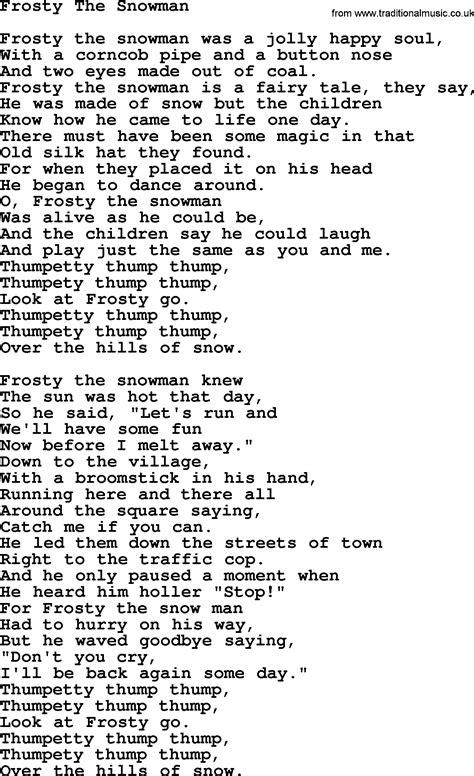 printable lyrics for frosty the snowman willie nelson song frosty the snowman lyrics