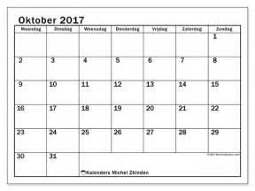 Oktober Kalender 2017 Kalenders Om Af Te Drukken Oktober 2017 Belgi 235