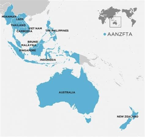 map showing australia and new zealand asean australia new zealand fta aanzfta new zealand