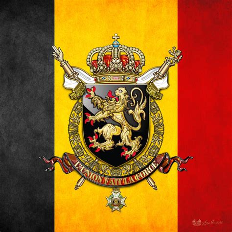 Duvet Coats Belgium Coat Of Arms And Flag Digital Art By Serge Averbukh