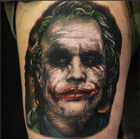 joker tattoo movie 3d very detailed colored thigh tattoo of evil joker