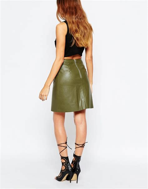 warehouse faux leather a line skirt in green lyst