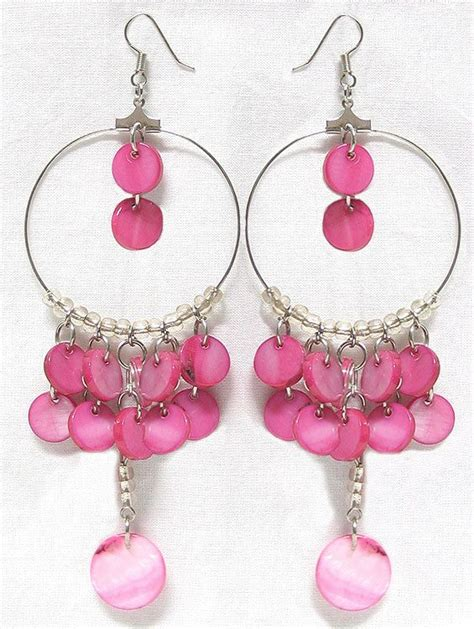 Pink Chandelier L by Pink Chandelier Hoop Earrings