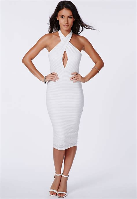 My Style Midi Dress missguided ribbed cross midi dress white my style