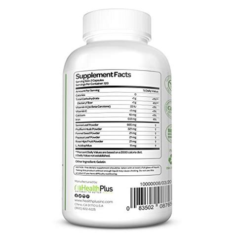 Health Plus Herbal Detox Senna Leaf Powder Review by Health Plus Colon Cleanse 240 Capsules 120 Servings