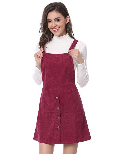 Corduroy A Line Dress allegra k corduroy button decor a line suspender
