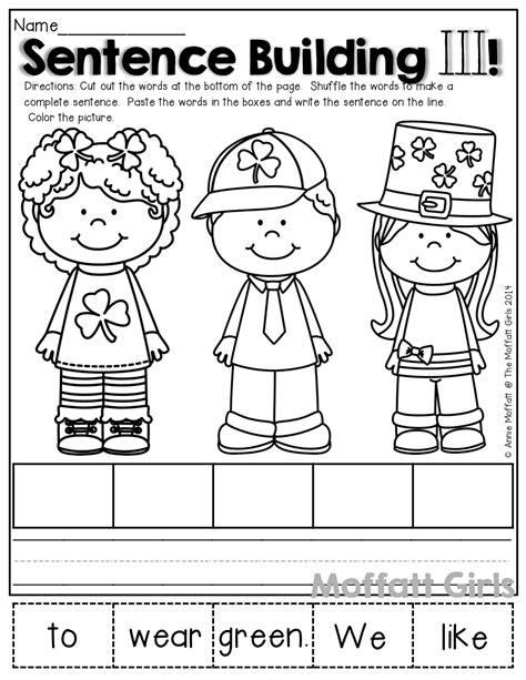 Kindergarten Sentence Building Worksheets by Sentence Building Unscramble The Simple Sentence Paste It
