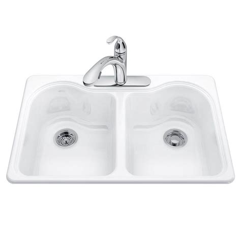 kohler sink accessories home depot kohler riverby undermount cast iron 33 in 5 hole double