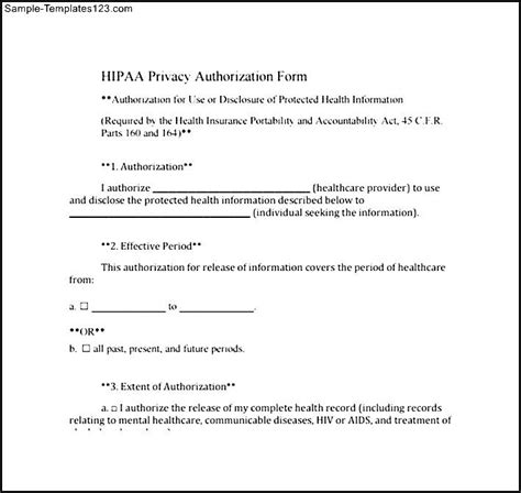 Hipaa Release Letter Hipaa Privacy Authorization Form Sle Templates