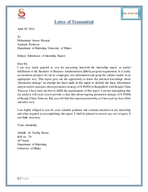 Letter Of Transmittal Block Format Internship Report