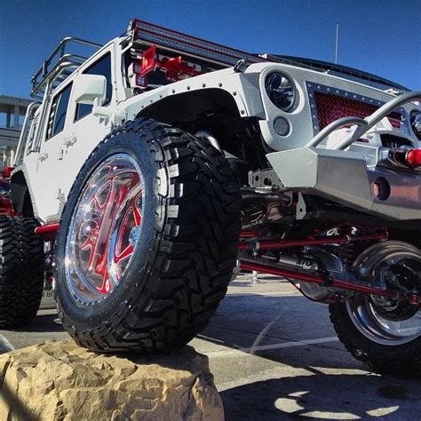 modded white jeep white jeep with linex body sema2013 sweet jeeps