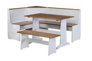 White kitchen table with corner bench set 5 piece packagefeatures