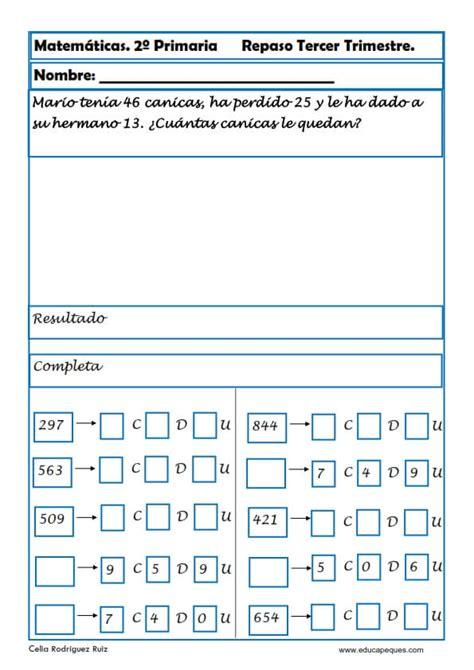 problemas de matematicas para cuarto de primaria gratis ejercicios de matem 225 ticas segundo primaria