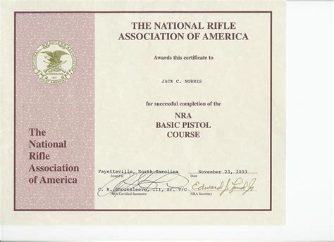 concealed carry course completion certificate complete