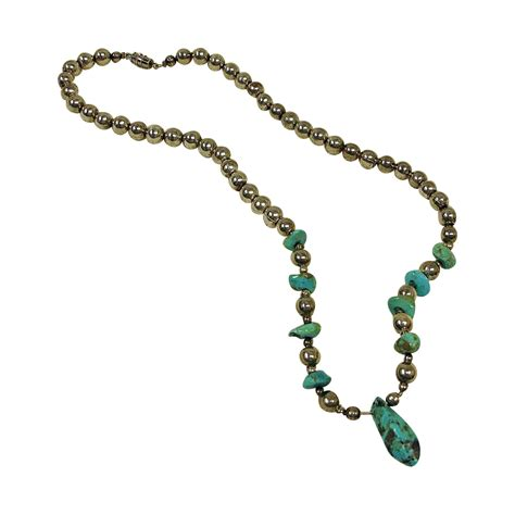turquoise nugget sterling silver bead necklace vintage