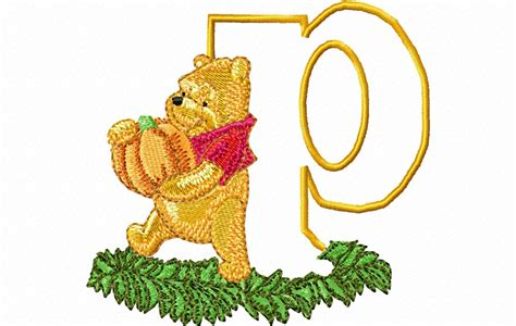 embroidery design world store pooh letter p 10 x 10