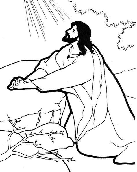 Coloring Pages Of Jesus Praying | jesus praying coloring page google search catechist