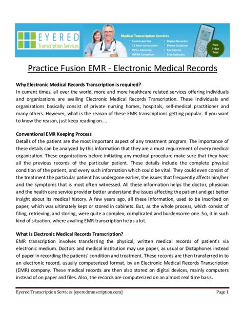 entrada medical transcription practice fusion emr electronic medical records
