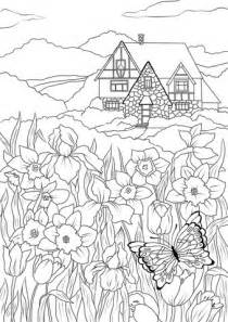 spring house coloring pages spring flowers butterfly and country house coloring page