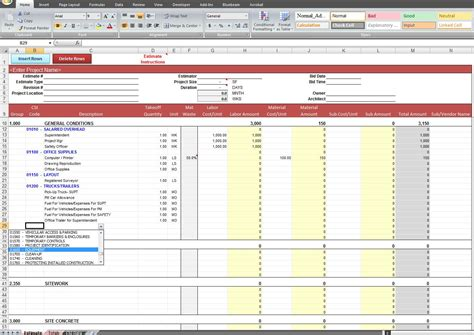 contractor spreadsheet template general construction estimate template cost construction
