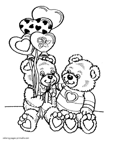 coloring pages for s day printables day coloring pictures two teddy bears