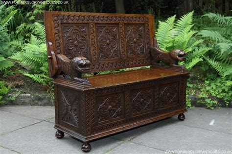 monks bench for sale carved oak monks bench armchair hall seat pew table settle