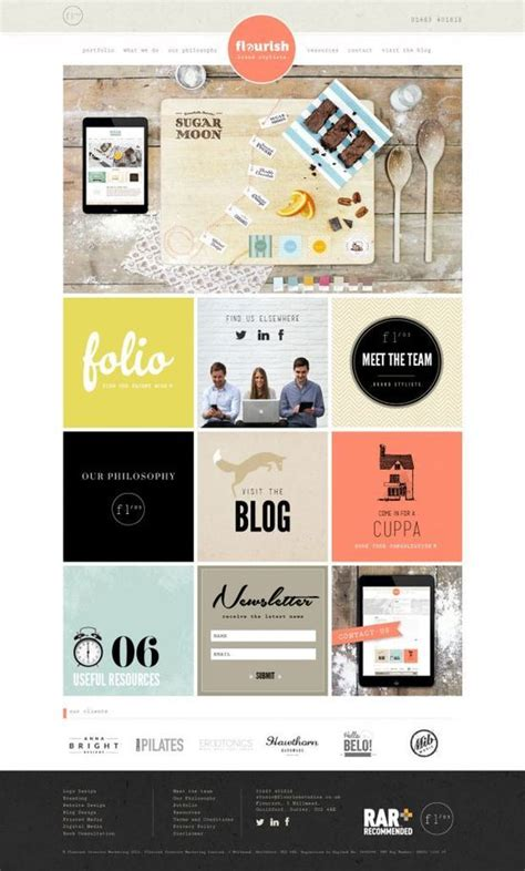 great web design layout flat and simple each box links