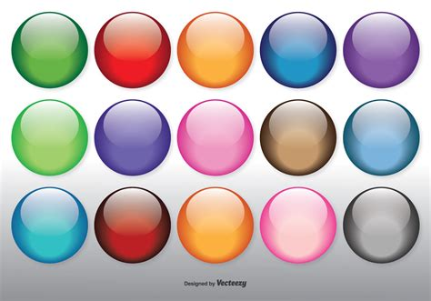 Set Of Various Color Glossy Sphere Isolated On Colorful Glossy Orbs Set Free Vector Stock Graphics Images