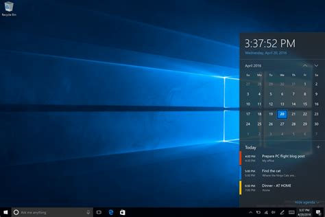 Calendario Windows 10 Taskbar Clock Now Integrates With Calendar In Windows 10